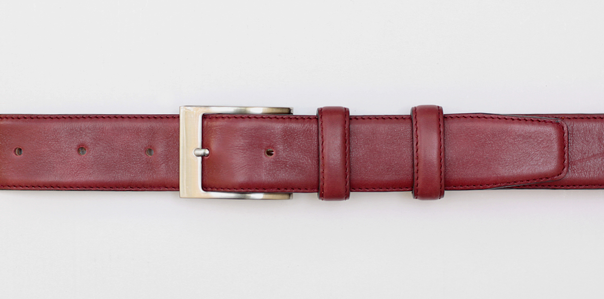 35 mm burgundy leather belt with nickel detachable buckle