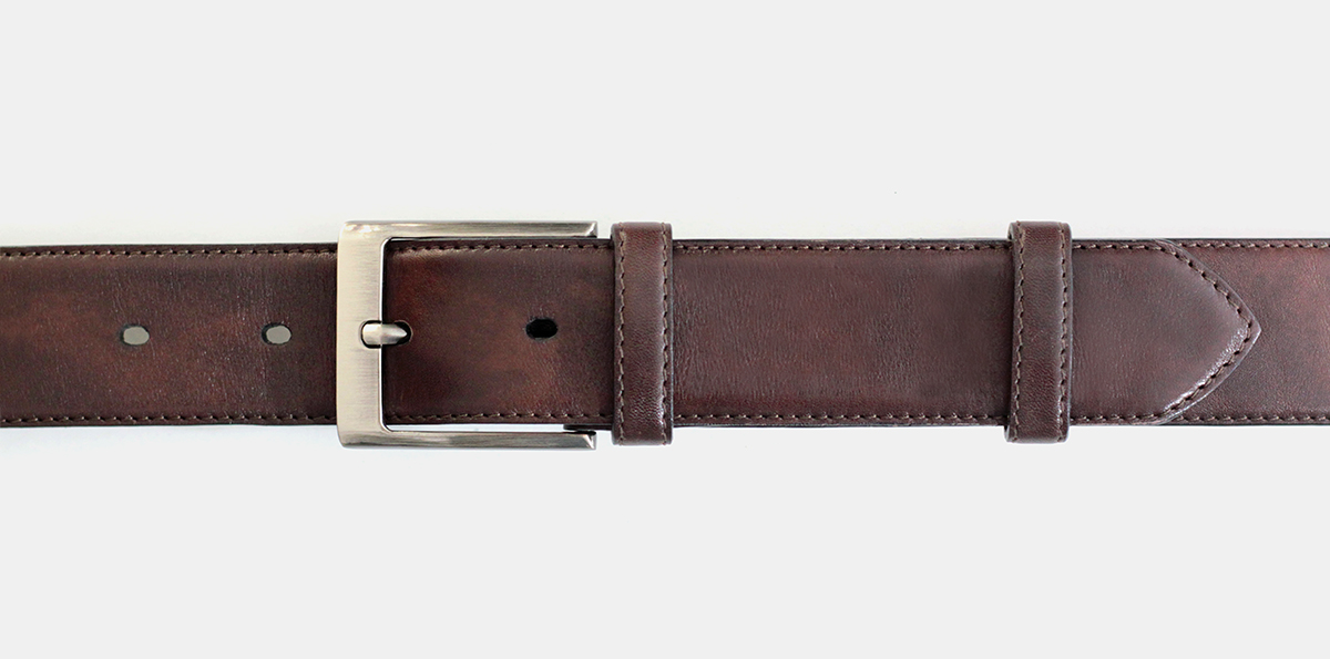 40 mm dark brown leather belt with silver detachable buckle