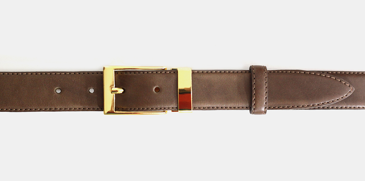 30 mm olive-brown leather belt with gold-colored clamp buckle