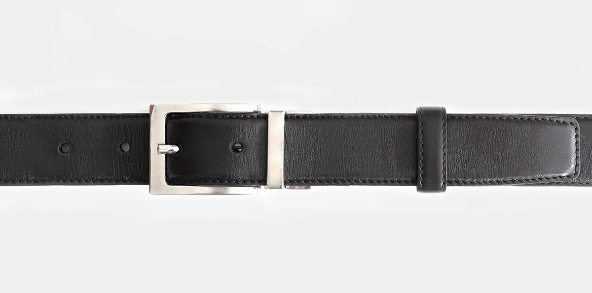 35 mm black leather belt with nickel clamp buckle